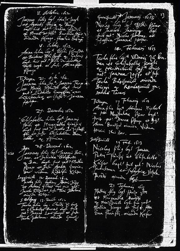 Microfilm du registre des baptêmes de Guin, XVIIe s.