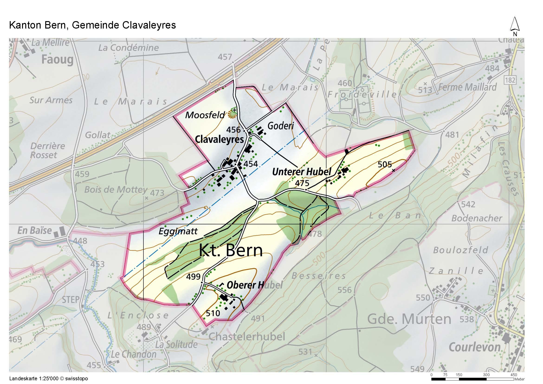 Carte topographique de Clavaleyres