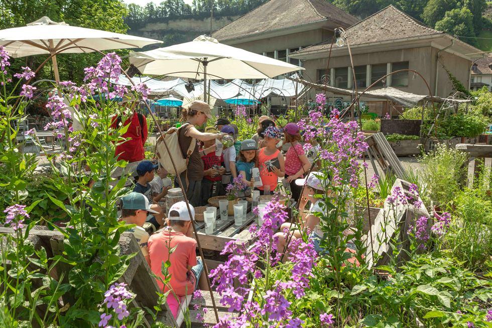 photo d'enfants dans un jardine entourés de fleurs