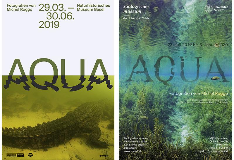 Affiches AQUA du Naturhistorisches Museum Basel et du Zoologisches Museum der Universität Zürich