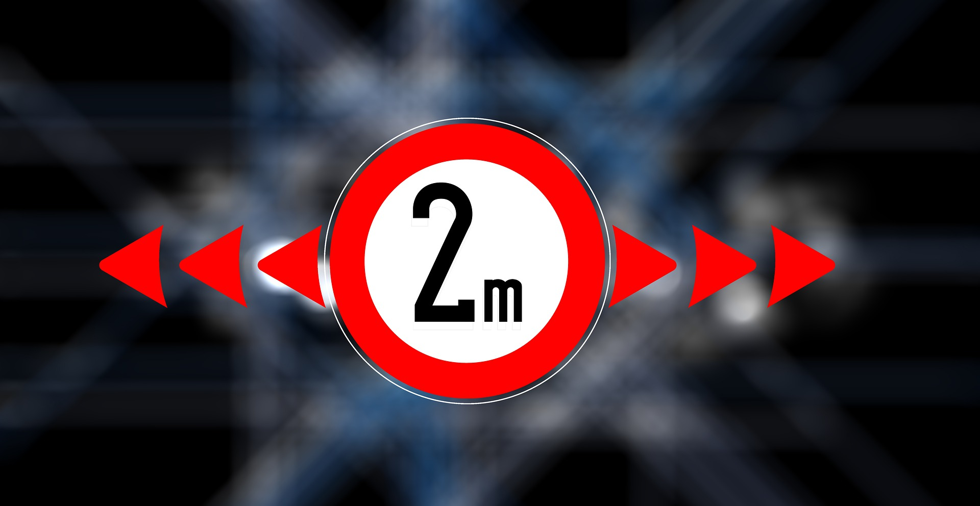 panneau de signalisation indiquant qu'il faut garder une distance de 2 mètres