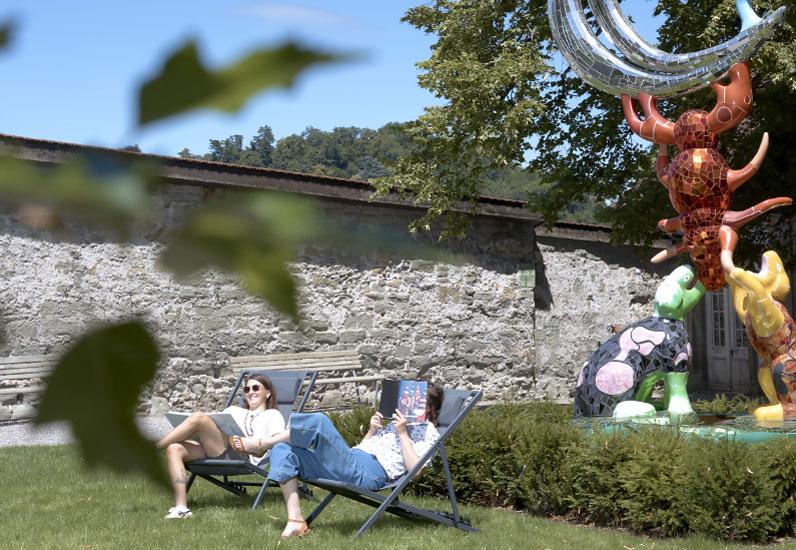 Jardin et chaises longues