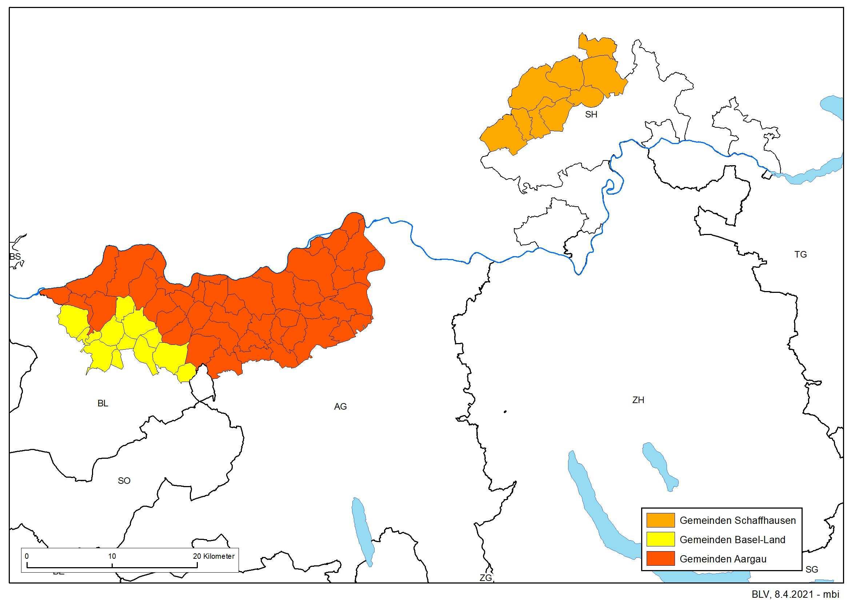 Die Gemeinden befinden sich Schaffausen, Basel-Land und Aargau