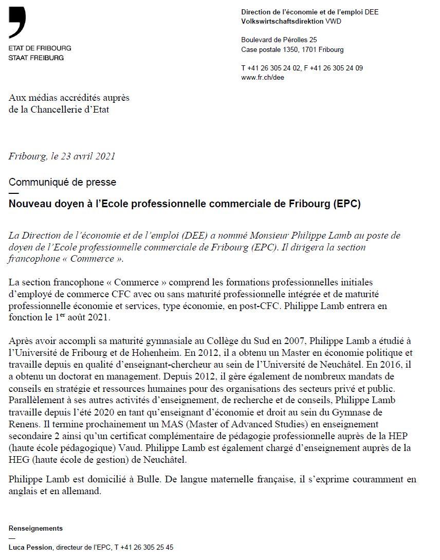 Communiqué de presse - Nouveau doyen à l'EPC