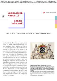 4 : Les d'Affry ou les fruits de l'alliance française
