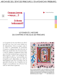 3 : Le fonds et l'histoire du Chapitre de St-Nicolas de Fribourg
