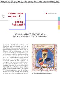 8 : Le fonds « Traités et contrats » des Archives de l'Etat de Fribourg