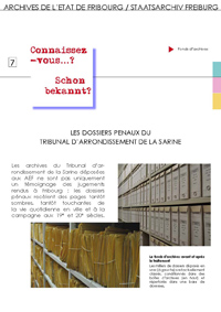7 : Les dossiers pénaux du Tribunal d'arrondissement de la Sarine
