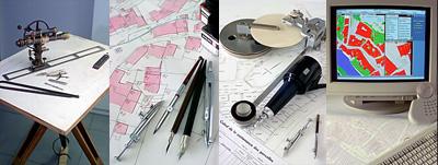 Messtisch, graphischer Plan, Plan auf Alu-Platte und numerischer Plan