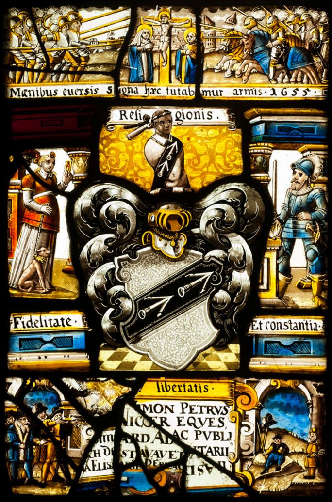 Jost Hermann, Vitrail de cabinet aux armes de l'avoyer fribourgeois Simon Peter Meyer (1655)