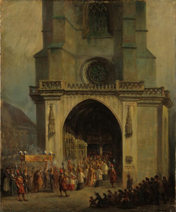 François Bonnet, Procession de la Fête Dieu, 2ème moitié du XIXe siècle