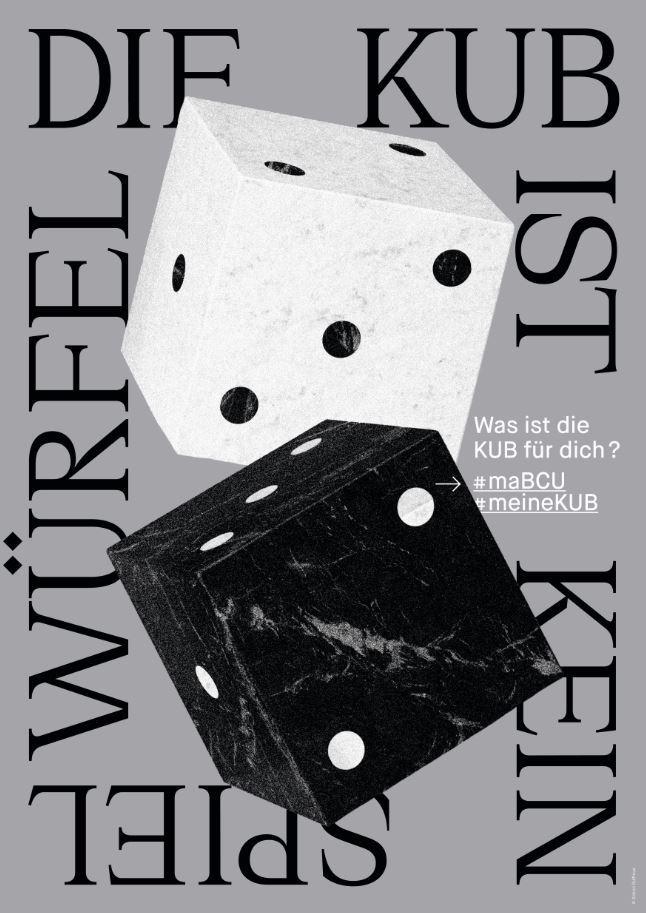 KUB Plakat Ausstellung #mabcumeinekub Würfel