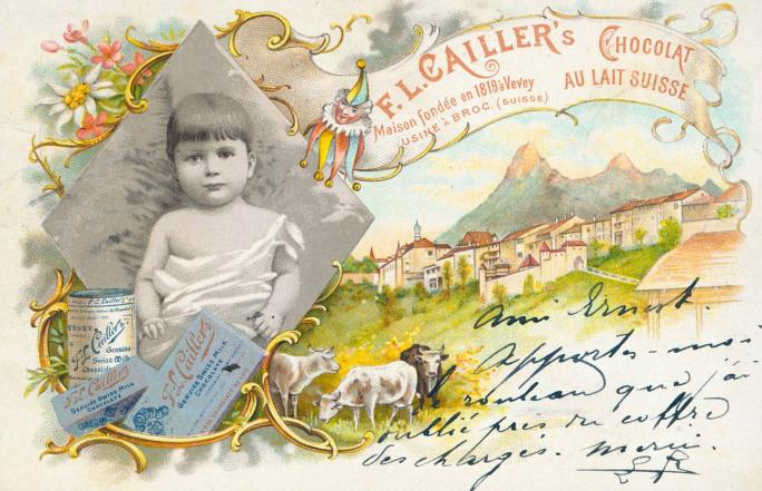 Cailler. Exposition Au lait, olé. BCU, Collection de cartes postales