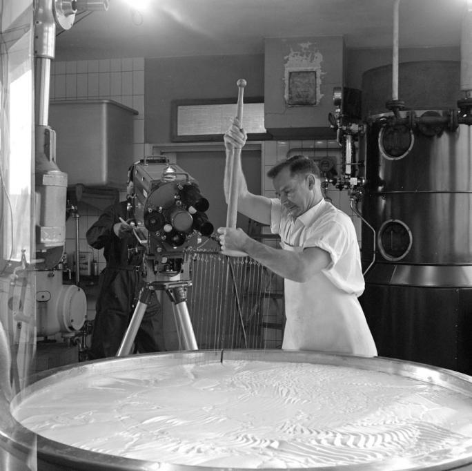 """Reportage TV """"Les Fromagers"""", tournage, Le Crêt. Exposition Au lait, olé. BCU, Fonds Thévoz"""