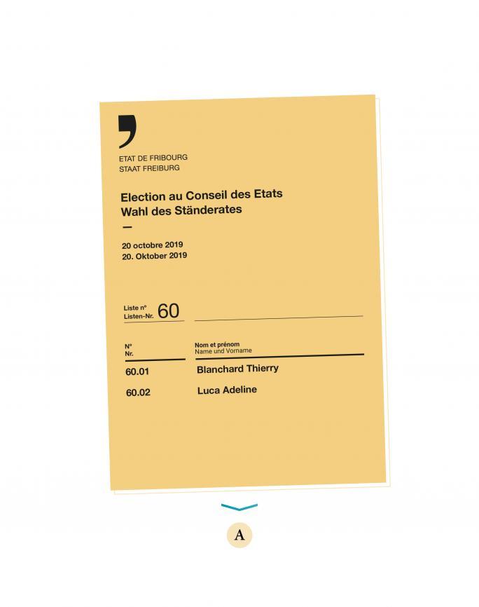 Stimmmaterial - eine Liste, auf der bereits zwei Namen stehen