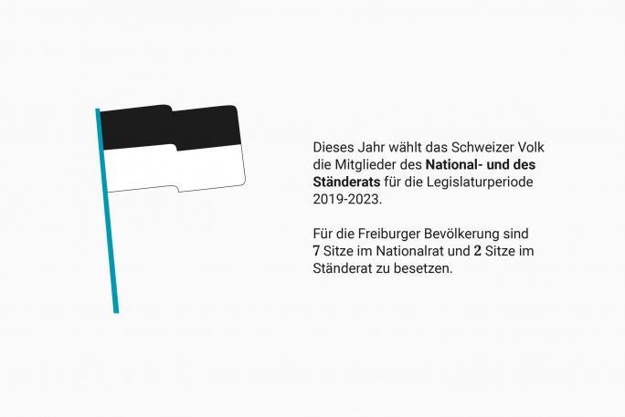 Freiburge Fahne - National- und des  Ständerats für die Legislaturperiode  2019-2023