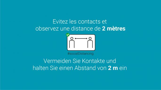 Vermeiden Sie Kontakte und halten Sie einen Abstand von 2m ein