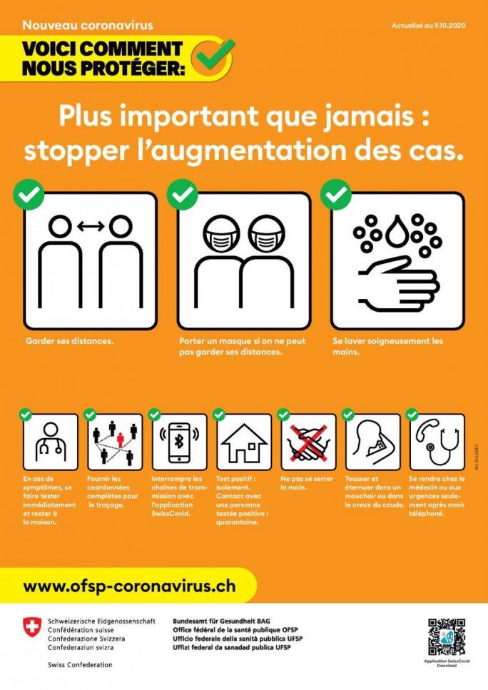 Affiche A3 Coronavirus population - OFSP