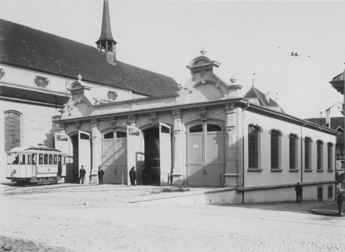 Dépôt de tram, Place de Notre Dame, Fribourg, ca. 1890