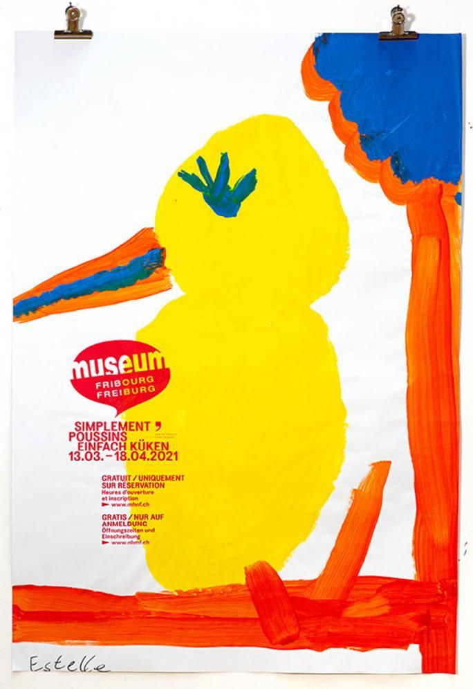 """Une des affiches de l'exposition """"Simplement Poussins"""""""