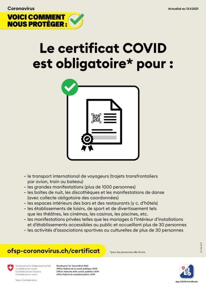 Le certicat COVID est obligatoire pour
