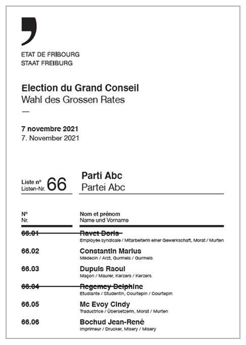Liste imprimée avec biffage