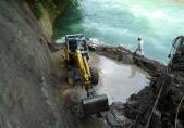 Aushubarbeiten bei tiefem Wasserstand
