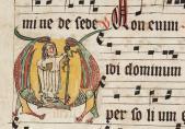 Le siècle oublié - Le siècle oublié - Scriptorium de la Maigrauge (?), antiphonaire (temporal), initiale V avec une abbesse cistercienne, avant 1318, abbaye cistercienne de la Maigrauge,