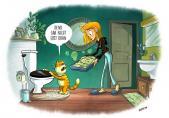 Ich entsorge keine Abfälle wie Speisereste, Chemikalien oder Katzensand über die Toilette in die Kanalisation. Wohnen und dabei die Umwelt schonen: Das geht