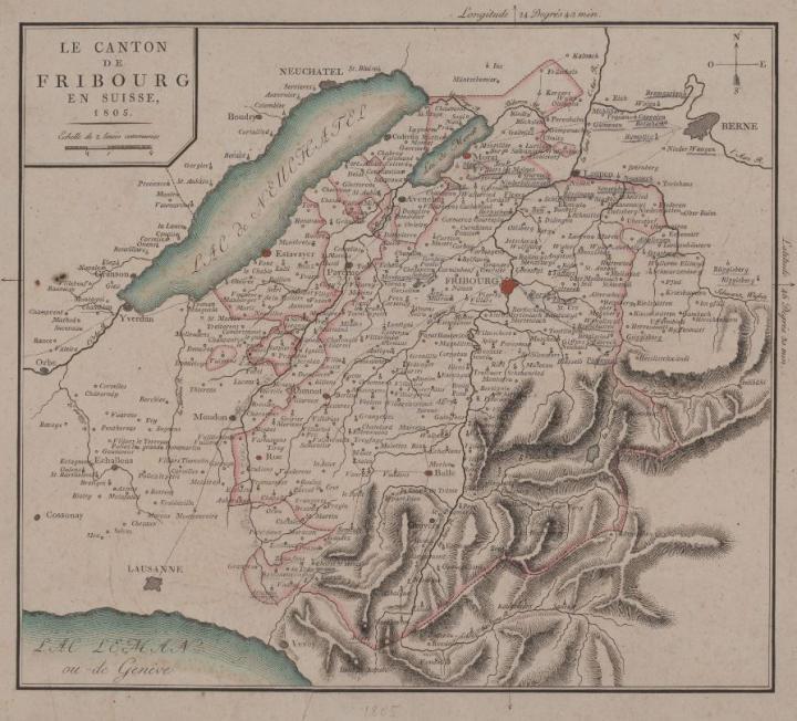 Le canton de Fribourg en Suisse, 1805. KUB, CAPL P-54 (Glasson 927). Kantons- und Universitätsbibliothek Freiburg.