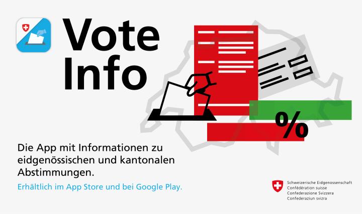 Die App VoteInfo ist im App Store und bei Google Play erhältlich