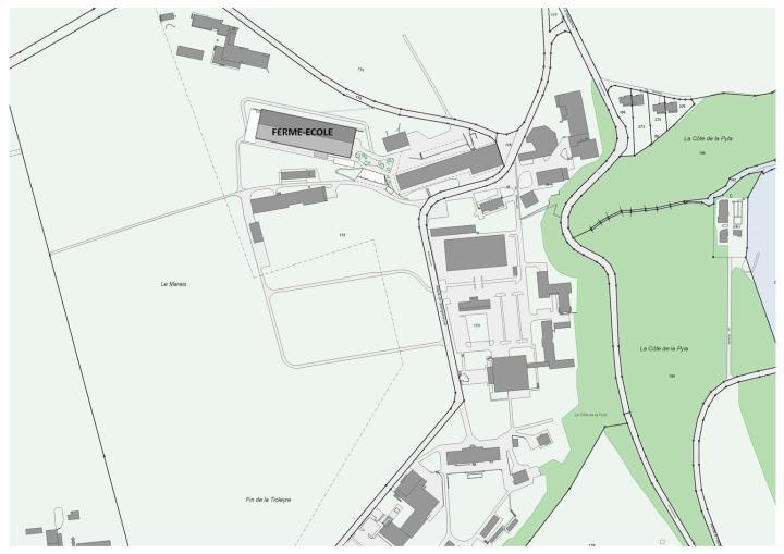 Standortplan des neuen Schulbauernhofs von Grangeneuve