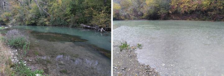 Kleine Saane, La Cua, vor und nach dem Wasserablass