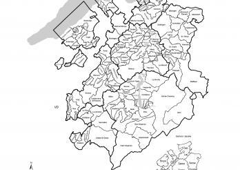 Carte du canton de Fribourg avec les frontières des communes et des districts