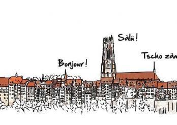 dessin de la ville de Fribourg / Zeichnung der Stadt Freiburg