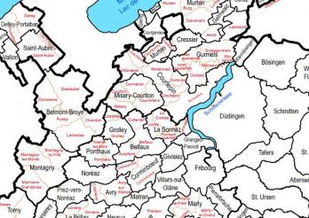 Carte - Communes et secteurs / Karte - Gemeinden und Sektoren