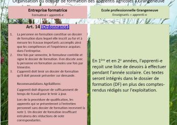 Dossier de formation en agriculture du canton Fribourg