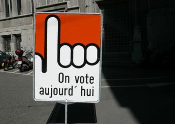 On vote, panneau jour de votation