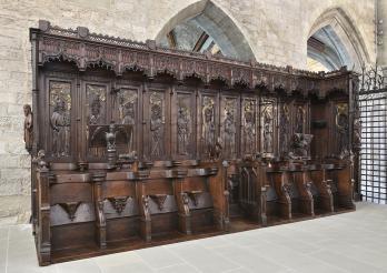 Chorgestühl der Stiftskirche Notre-Dame de l'Assomption in Romont, Werkstatt Antoine un Claude de Perey, südliche Reihe, 1464-1468.
