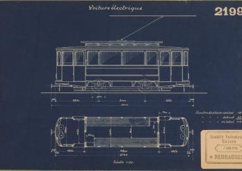 Tramway pour Fribourg, plan de la Société Industrielle Suisse de Neuhausen, 1914
