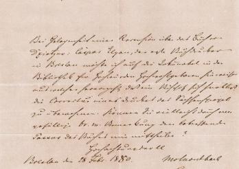 Brief von Mortimer Johann Nepomuk von Montbach, 1880. KUB, LD 83/5. Kantons- und Universitätsbibliothek Freiburg.