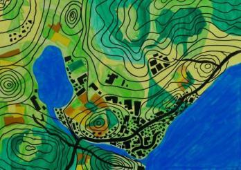 Dessin d'élève représentant une carte topographique