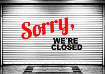 store fermé avec mention Sorry we're closed