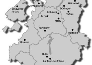 Carte indiquant les différents centres régionaux du canton de Fribourg
