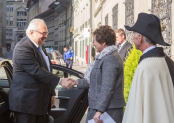 Son Excellence Monsieur David Jalagania et la Chancelière d'Etat, Danielle Gagnaux-Morel