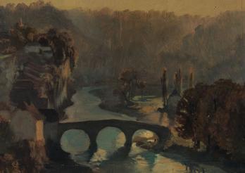 François Bonnet, Fribourg. Vue du pont de St-Jean, de la promenade de la Motta et de la Planche supérieure au soleil couchant, XIXe siècle