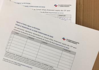 Petition für den Weiterbetrieb des Bahnhofs Rosé