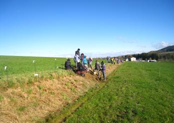 Heckenpflanzung mit einer Schulklasse
