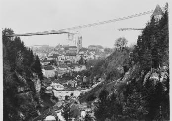 Effondrement du pont suspendu du Gottéron à Fribourg, 9 mai 1919