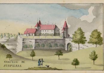Château de Surpierre dessiné en 1796 par Charles de Castella de Montagny. BCU Fribourg, ms. L 2150, f. 2r